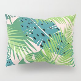 ABSTRACT GREEN TONE TROPICAL JUNGLE PATTERN Pillow Sham