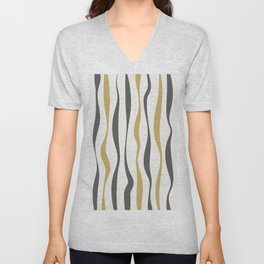 Abstract Minimal Wavy Lines 5 Unisex V-Neck