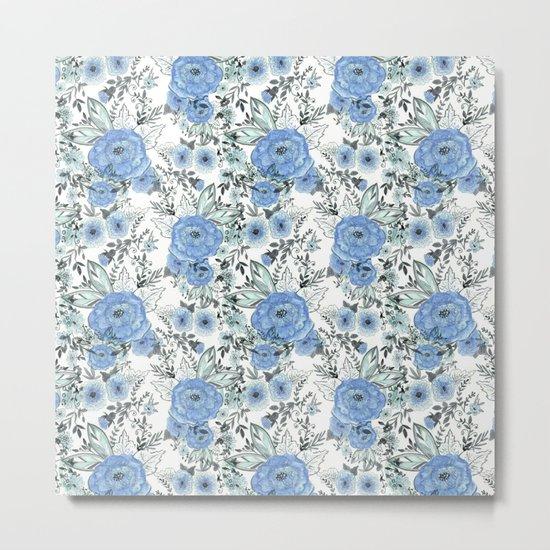 Watercolor . Sky-blue flowers . Metal Print