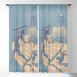 Dancing with the cat | Blue Moody sunset light and shadows Aesthetic room | Naked dance Femme Fatale Sheer Curtain