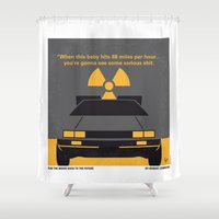 delorean Shower Curtains featuring No183 My Back to the Future minimal movie poster by Chungkong