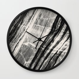 Abstract Marble - Black & Cream Wall Clock