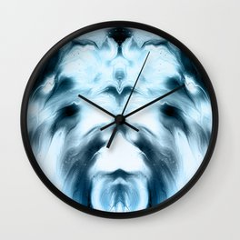 abstract psychedelic paint flow ghost face coi Wall Clock