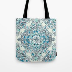 Floral Diamond Doodle in Teal and Turquoise Tote Bag