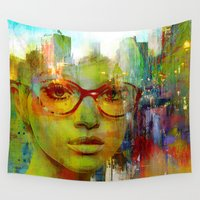 glasses Wall Tapestries featuring red glasses girl by Ganech joe