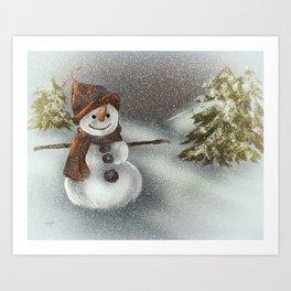 Happy Snowman In The Snow Art Print