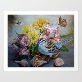 Floral still life with sparrow, bumble bee, butterfly, and sea shells Art Print