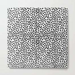 Stylish simple black white watercolor polka dots Metal Print