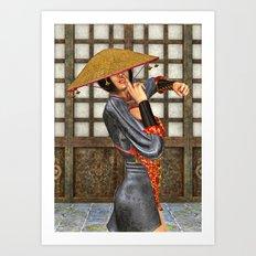 Asian Battle Woman Art Print