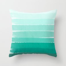 Ombre - Brushstroke Green/Blue Ocean Ombre, girly trend, dorm decor, cell phone, beach, summer,  Throw Pillow