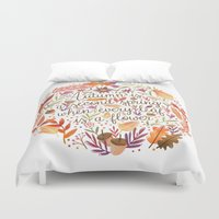camus Duvet Covers featuring Autumn is a Second Spring by Stephanie Fizer Coleman