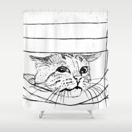 Cat in venitian blind Shower Curtain