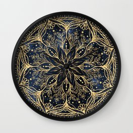 Elegant Gold Poinsettia Flower Mandala Blue Design Wall Clock