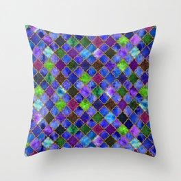 Peacock Arabesque Digital Quilt Throw Pillow