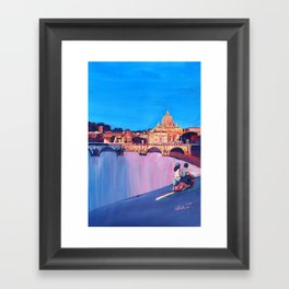 Rome Scene with Motorcycle and view of Vatican Framed Art Print