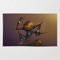 freddy krueger Area & Throw Rugs featuring Freddy Pumpkins by Paride J Bertolin