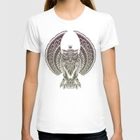 silent T-shirts featuring Silent Flight (Owl Wings) by Rachel Caldwell
