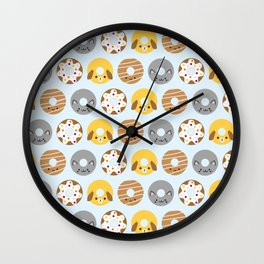 Kawaii Animal Donuts Wall Clock