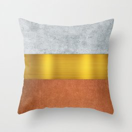 Concrete Gold and Terracotta Throw Pillow