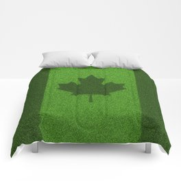 Grass flag Canada / 3D render of Canadian flag grown from grass Comforters