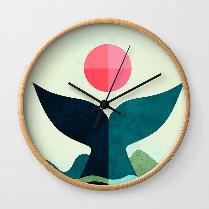 mid century whale sun sea Wall Clock
