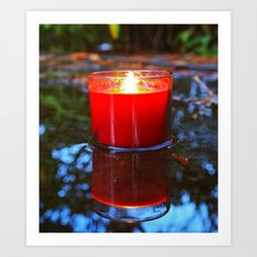 Candle reflected Art Print