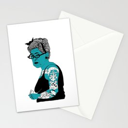 Tattoo Lady colour by Emilythepemily Stationery Cards