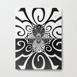 Black and White Negative Fractal Pattern Design Metal Print