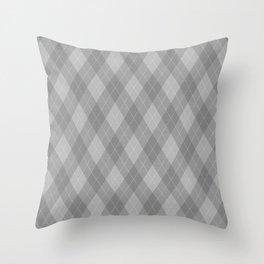 Argyle Fabric Pattern - Graphite Silver Gray / Grey Throw Pillow