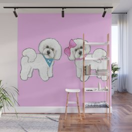 Bichon Frise friends on pink Wall Mural