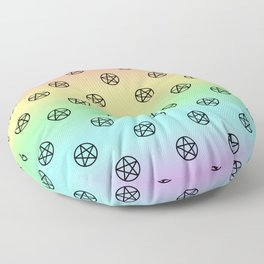 Black Pentacles on Rainbow Floor Pillow