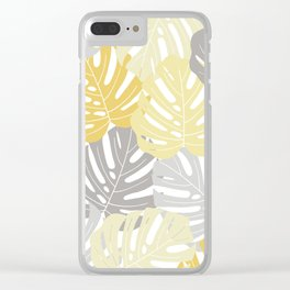 Yellow monstera deliciosa leaves Clear iPhone Case
