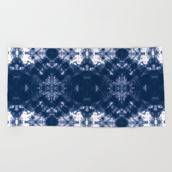 Shibori Tie Dye 1 Indigo Blue Beach Towel