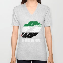 ARE  United Arab Emirates Kiss Lips Tshirt Unisex V-Neck