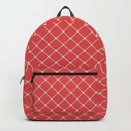 Classic Diagonal Grid Peach and Beige Backpack