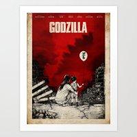 godzilla Art Prints featuring Godzilla.  by Sinpiggyhead