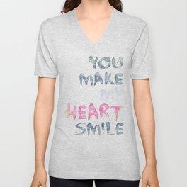 You make my heart smile ink lettering Unisex V-Neck
