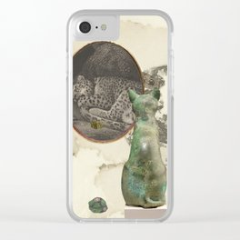 Green cat (sleeping) Clear iPhone Case