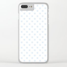 Baby Blue on White Snowflakes Clear iPhone Case