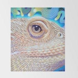 Dragon Star, Bearded Dragon Lizard Art Throw Blanket