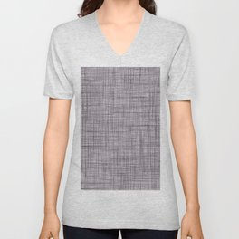 Cross Weave Line Pattern Dark Lavender Purple Unisex V-Neck