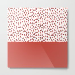 Triangles Fiesta Red Metal Print