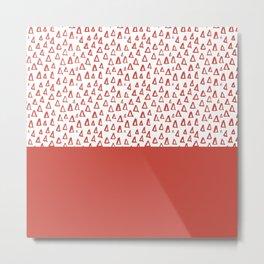 Triangles Fiesta Red Metal Print
