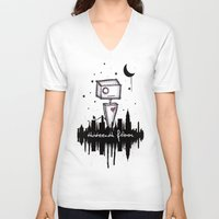 robot V-neck T-shirts featuring Robot by Thirteenth Floor