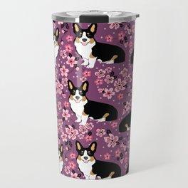 Welsh corgi tricolored cherry blossoms botanical florals japanese flowers dog breed corgis Travel Mug