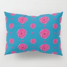 Rose Pattern | Pink Roses | Roses and Hearts Pillow Sham