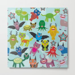 Cute cartoon Monsters seamless pattern on blue background Metal Print