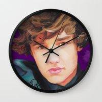 liam payne Wall Clocks featuring Liam Payne  by Tune In Apparel