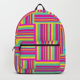 Neon Multicolored Weaved Squares Backpack