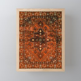 N151 - Orange Oriental Vintage Traditional Moroccan Style Artwork Framed Mini Art Print